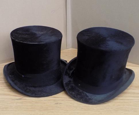 45279a0971b5f Pair of vintage top hats makers Herbert Johnson   E Bissington