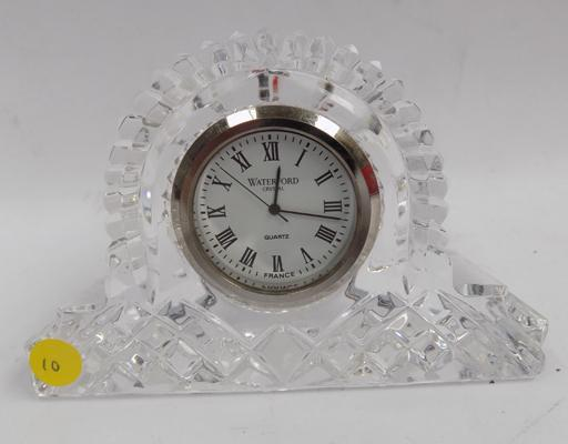Diamond cut glass Waterford crystal mantle clock - 2.5 x 4 inches