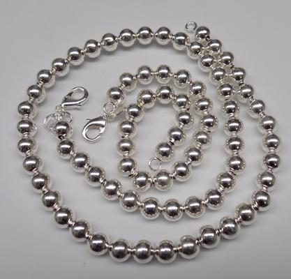 Heavy 925 ball bracelet & matching necklace