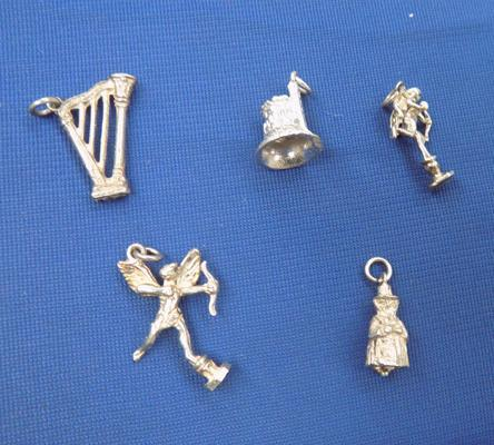 5 solid silver charms incl. cupid