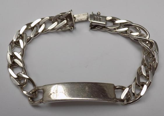 Vintage full English hallmark silver ID bracelet approx 37gms