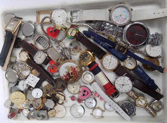 Collection of watches + watch parts, large amount