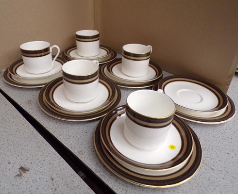 Five trios of Royal Doulton Cadenza with spare plate & saucer