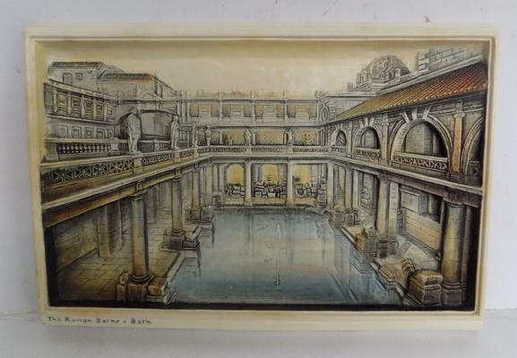 3D wall art plaque of Roman Baths, Bath approx 11 inches x 8 inches