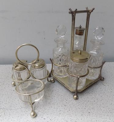 Two plated cruet sets
