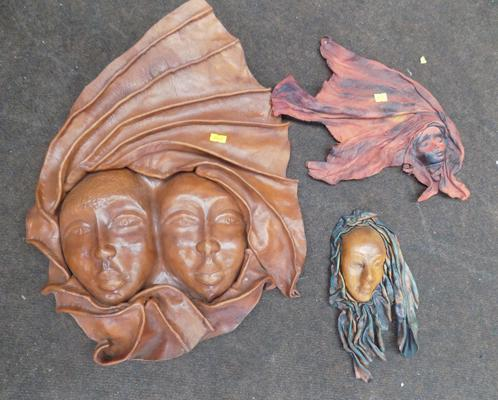 Vintage leather mask wall hanging