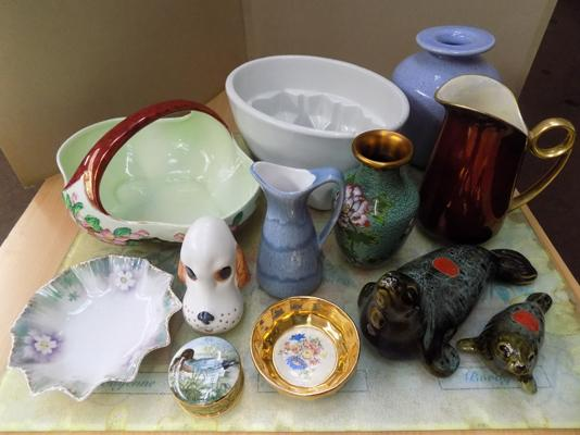 Selection of ceramic items inc Carlton ware, Shelf, Maling & antique jelly mould