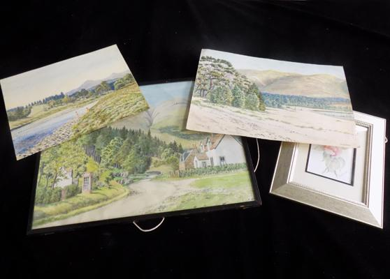 Three water colours by W. A. Aitken, plus one other