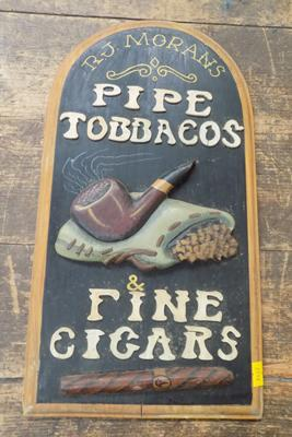 'R.J Morgans pipe tobaccos and fine cigars' wooden advertising sign