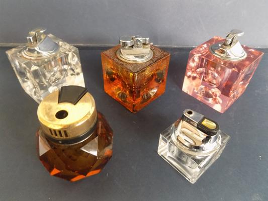 Selection of glass vintage table lighters