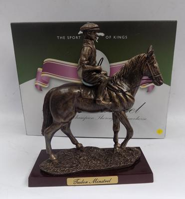 Boxed Sport of Kings bronzed racehorse, 'Tudor Mistral' on wooden base with certificate (rider loose)