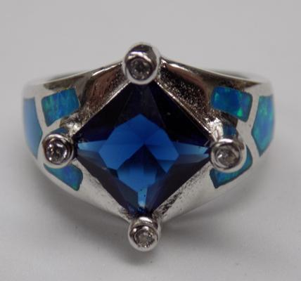 Silver opal & blue stone ring