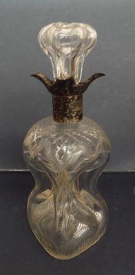 Silver collared glass decanter