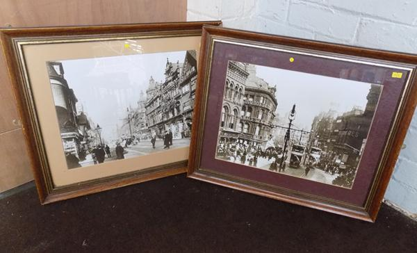 Two framed prints of old Leeds, each 22.5 x 19 inches
