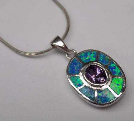Amethyst & opal silver pendant on silver chain
