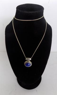 Silver & lapis gemstone necklace, chain length, approx. 16 inches