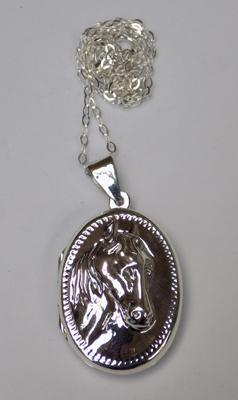 Silver horse locket on silver chain
