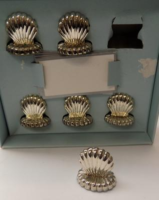 Vintage silver plated name place holders-boxed
