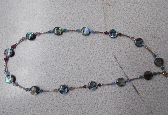 925 Silver necklace with paua shell pieces