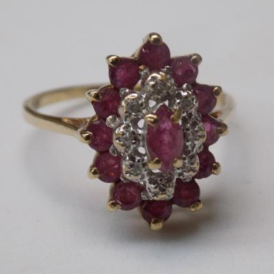 9ct Gold ruby & diamond cluster ring size M1/2