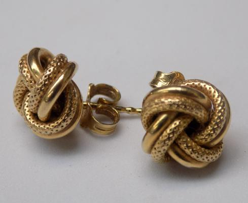 Pair of 9ct gold knot stud earrings