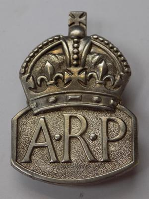 WWII solid silver ARP badge-London circa 1938