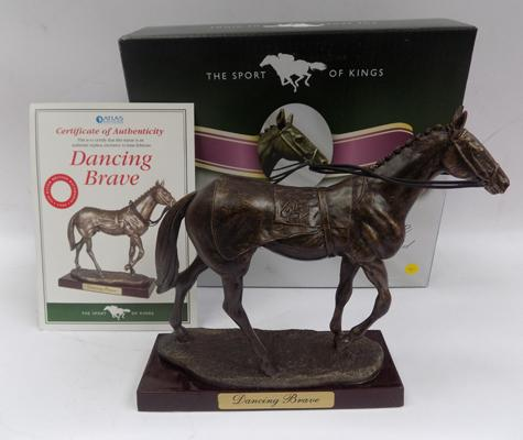 Boxed Sport of Kings racehorse, 'Dancing Brave' on wooden base with certificate
