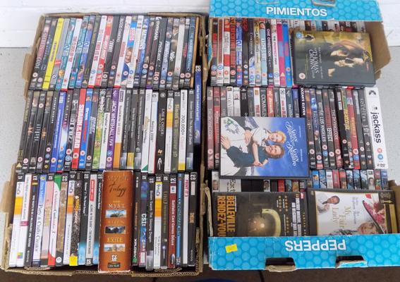 Two boxes of DVDs & games