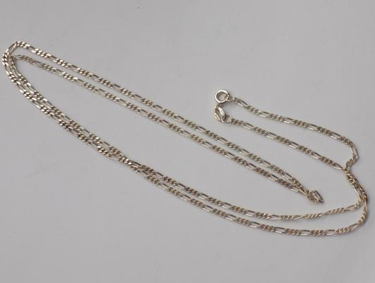 Approx 30 inch Italian 925 silver Figaro link necklace