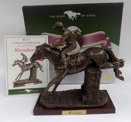 Boxed Sport of Kings bronzed racehorse 'Mandarin', on wooden base with certificate