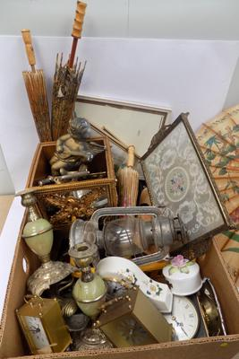Box of vintage items, incl. parasols, metalware, brass carriage clocks
