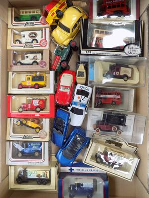 Box of boxed and loose diecast cars