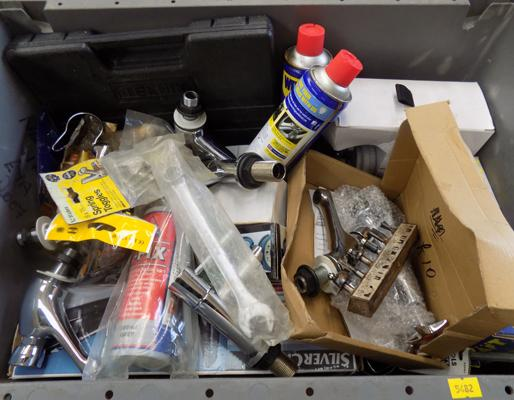Large box of mixed tools & plumbing equipment