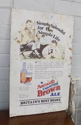 Tin plate sign - Newcastle Brown Ale