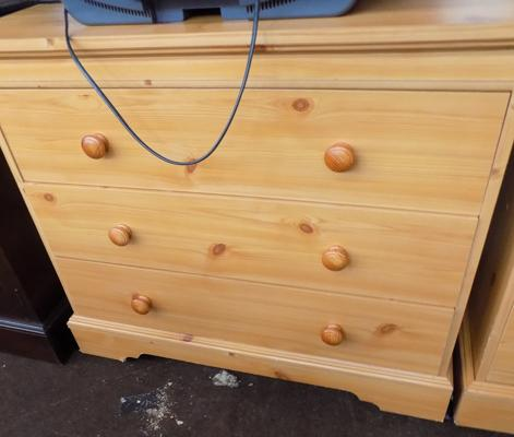 Pine effect chest of three drawers