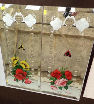 Two vintage hand painted mirrors (no frames)