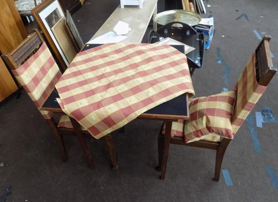 Folding card table, 2 chairs, cushion, matching table & chair covers + fabric pieces
