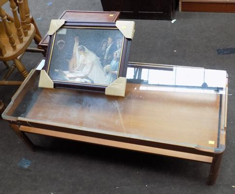 Glass coffee table & occasional table + framed print