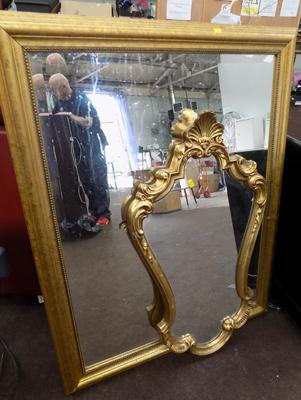 "2 gilt framed mirrors, large one is 31"" x 40""."