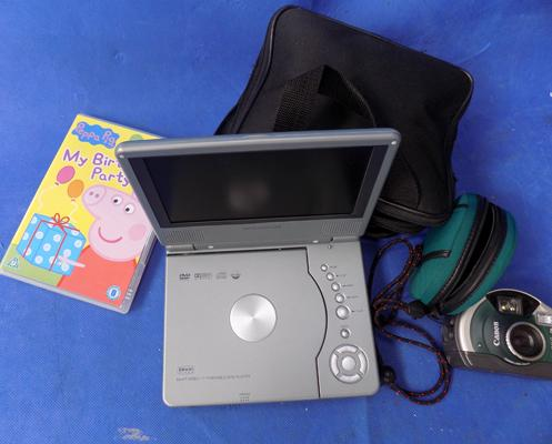 Daewoo portable DVD player W/O and DVD plus Canon underwater diving camera