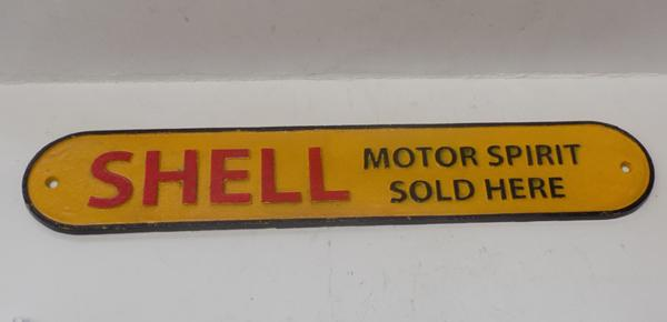 Cast iron plaque 'Shell Motor Spirit Sold Here'