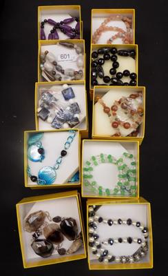 Ten boxed jewellery sets