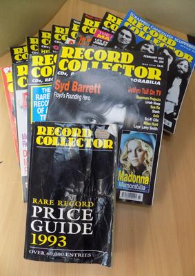 Box of record collector's magazines & price guide