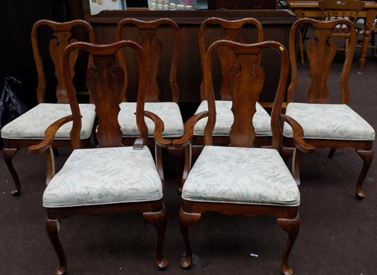 Six solid wood chairs - incl. 2 carvers