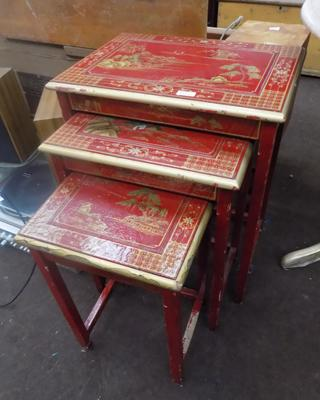 Nest of three oriental tables