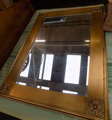 Large gold framed bevel edged mirror, approx. 4 feet x 3 feet