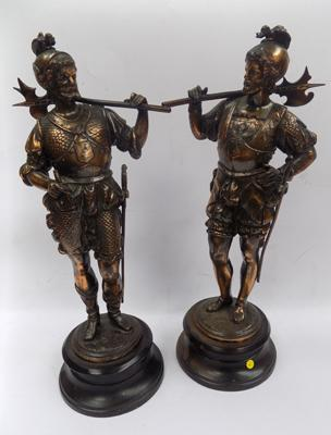 Pair of vintage Spelter figures - 14 inches