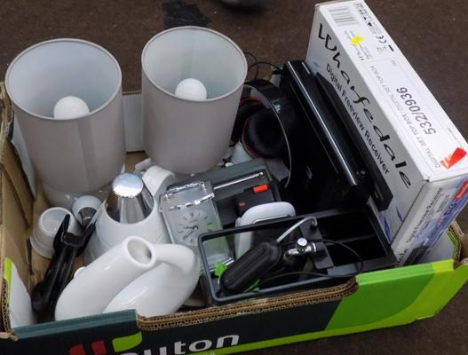Box of mixed electricals & household items etc