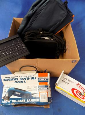 Box of various items incl. keyboard, tri-base sander and insect zapper