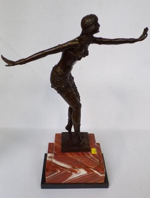 Art Deco lady bronze on marble base-foundry mark & DH Chiparus 19 inches tall